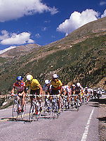 Racers of the Coors Classic bike race near the top of Independence Pass, outside of Aspen, CO, 1988