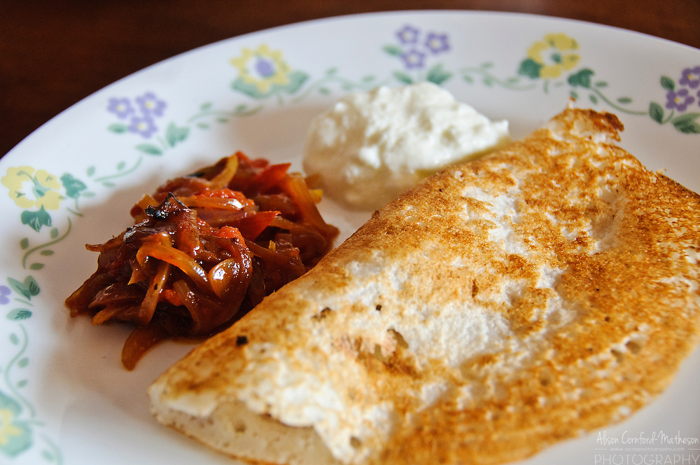 Masala Dosa are a Southern Indian food, similar to a crepe or pancake.