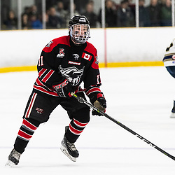 TORONTO, ON - APR 10, 2018: Ontario Junior Hockey League, South West Conference Championship Series. Game seven of the best of seven series between the Georgetown Raiders and the Toronto Patriots, Bailey Molella #11 of the Georgetown Raiders watches a player skate with the puck during the third period.<br /> (Photo by Kevin Raposo / OJHL Images)