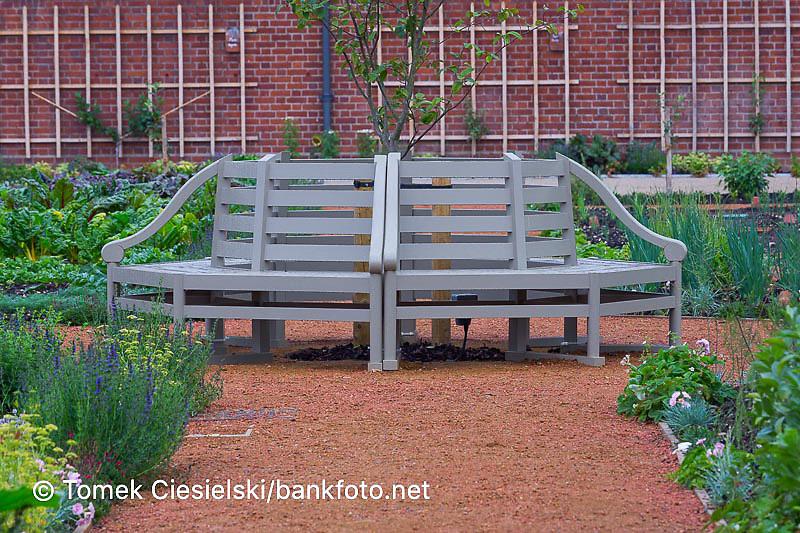 Round wooden bench
