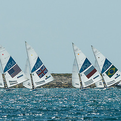 2012 Olympic Games London / Weymouth<br /> Star Medal Race<br /> The fleet on the fleet on the run/ downwind