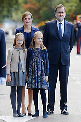12.10.2015, Madrid, Madrid, ESP, Spanischer Nationalfeiertag, Royals, im Bild Princess Sofia of Spain, Princess Leonor of Spain, Queen Letizia of Spain and Spain President Mariano Rajoy // during the celebration of the Spanish National Day military parade in Madrid in Madrid, Spain on 2015/10/12. EXPA Pictures © 2015, PhotoCredit: EXPA/ Alterphotos/ Victor Blanco<br /> <br /> *****ATTENTION - OUT of ESP, SUI*****