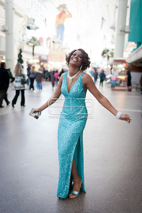 February 20th, 2012, Las Vegas, Nevada. The 21st Annual Reel Awards in Las Vegas where celebrity lookalikes show off their talents. Pictured is Trina Johnson Finn as Whitney Houston..PHOTO © JOHN CHAPPLE / www.johnchapple.com.