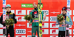 Second placed Ryoyu Kobayashi (JPN), winner Markus Eisenbichler (GER) and third placed Piotr Zyla (POL) celebrate at trophy ceremony after the Ski Flying Hill Individual Competition at Day 2 of FIS Ski Jumping World Cup Final 2019, on March 22, 2019 in Planica, Slovenia. Photo by Vid Ponikvar / Sportida