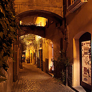 Cobblestone street at night, Orvieto, Italy<br />