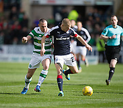 Dundee&rsquo;s Henrik Ojamaa holds off Celtic&rsquo;s Scott Brown - Dundee v Celtic in the Ladbrokes Scottish Premiership at Dens Park, Dundee.Photo: David Young<br /> <br />  - &copy; David Young - www.davidyoungphoto.co.uk - email: davidyoungphoto@gmail.com