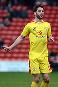 Goalscorer Will Grigg during the Sky Bet League 1 match between Walsall and Milton Keynes Dons at the Banks's Stadium, Walsall, England on 14 March 2015. Photo by Alan Franklin.