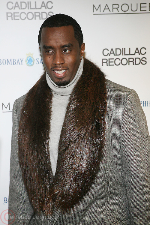 "P. Diddy at the ' Cadillac Records' premiere at held at AMC Broadway 19th Street on Decemeber 1, 2008 in NYC..In this tale of sex,, violence, race, and rock and roll in the 1950's Chicago, 'Cadillac Records"" follows the exciting but turbulent lives of some America's musical legends including Muddy Waters, Leonard Chess, Little Walter, Howlin' Wolf, Chuck Berry and Etta James."