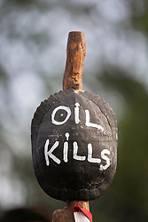 20 April 2015. New Orleans, Louisiana.<br /> Gulf South Rising.<br /> Oil Kills. Protesters mark the 5th anniversary of the disastrous BP Macondo Well blowout in the Gulf of Mexico. The largest marine oil spill in history claimed 11 lives and witnessed an estimated 5 million barrels of oil polluting the Gulf. <br /> Photo; Charlie Varley/varleypix.com