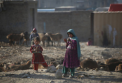 Nov. 20, 2018 - Kabul, Afghanistan - Afghan children stand outside their mud houses on World Children's Day in Kabul. The United Nations Children's Fund (UNICEF) office in Afghanistan said that about 3.7 million Afghan children have no access to school due to insecurity and poverty in the country. (Credit Image: © Rahmat Alizadah/Xinhua via ZUMA Wire)