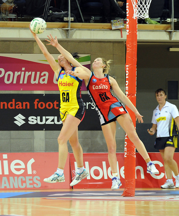 Pulses' Donna Wilkins, left and Tactixs' Zoe Walker contest the ball in the ANZ Netball Champions at Te Rauparaha Arena, Porirua, New Zealand, Monday, June 17, 2013. Credit:SNPA / Ross Setford