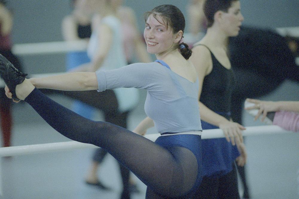 Israel, Tel Aviv, Dancers in rehearsal hall of National Ballet School