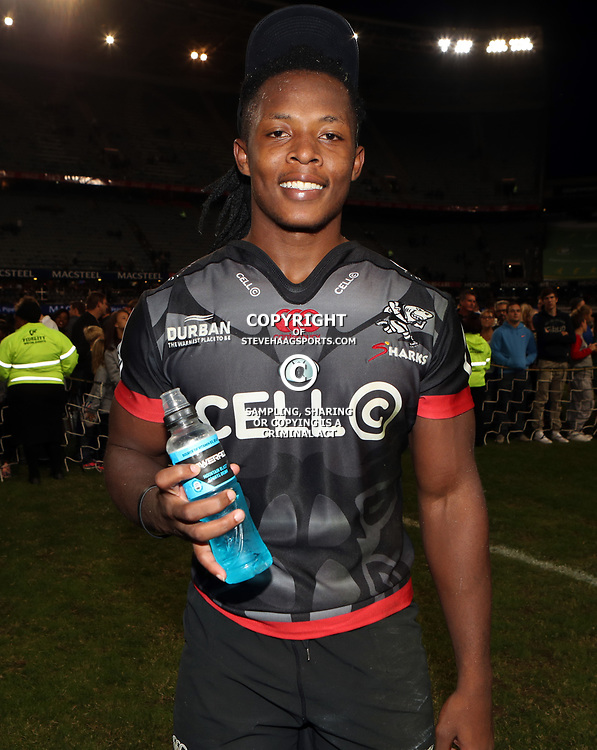DURBAN, SOUTH AFRICA - MAY 27: Man of the match Sbu Nkosi of the Cell C Sharks during the Super Rugby match between Cell C Sharks and DHL Stormers at Growthpoint Kings Park on May 27, 2017 in Durban, South Africa. (Photo by Steve Haag/Gallo Images)