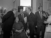 28/10/1985<br /> 10/28/1985<br /> 28 October 1985<br /> Launch of Gaisce The Presidents Award at Aras an Uachtarain. President Dr. Patrick Hillery launched the new national youth award scheme to be the nations highest award to Irish young people aged 15-25. Picture shows (l-r): Taoiseach Dr. Garret FitzGerald, T.D.; Joan FitzGerald; John Meagher; President Hillery; and Dr. A.F.J. O'Reilly.