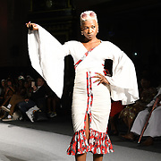 Designer Ganiyat showcases its latest collection at the Africa Fashion Week London (AFWL) at Freemasons' Hall on 11 August 2018, London, UK.