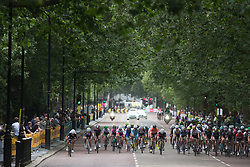 Riders of the BTC City Ljubljana Cycling Team attack on Birdcage Walk in the early part of the Prudential RideLondon Classique, a 66 km road race in London on July 30, 2016 in the United Kingdom.