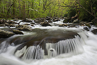The classic semi-rounded cascade along the Middle Prong of Little River in the Tremont area of Great Smoky Mountains National Park.