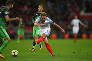 England forward Harry Kane tries a shot on target during the FIFA World Cup Qualifier match between England and Slovenia at Wembley Stadium, London, England on 5 October 2017. Photo by Martin Cole.