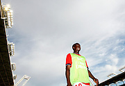 Granddi Ngoyi warms up on the sideline for PSG. Toulouse v Paris Saint Germain (1-3), Ligue 1, Stade Municipal, Toulouse, France, 28th August 2011.