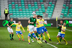 Aris Zarifovic of NK Olimpija Ljubljana and Dusan Stojinovic of NK Celje during football match between NK Olimpija Ljubljana and NK Celje in 1st leg match in Semifinal of Slovenian cup 2017/2018, on April 4, 2018 in SRC Stozice, Ljubljana, Slovenia. Photo by Urban Urbanc / Sportida