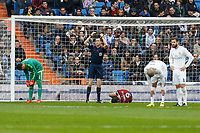 Real Sociedad´s Imanol Agirretxe gets injured during La Liga match between Real Madrid and Real Sociedad at Santiago Bernabeu stadium in Madrid, Spain. December 30, 2015. (ALTERPHOTOS/Victor Blanco)