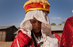 Destaye, 11, is seen on her wedding day near Bahir Dar, Ethiopia on Feb. 4, 2008. Community members say that Destaye was married to Addisu, 23, at such a young age because, as a priest, it was necessary his bride be a virgin. According to the United Nations Population Fund, UNFPA, 37 percent of young women in sub-Saharan Africa aged 20 to 24 were married before turning 18. In 2010, there were 13.1 million girls married by age 18 in sub-Saharan Africa and the number is expected to rise to 15 million by 2030.