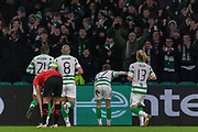GOAL! Ryan Christie (#17) of Celtic takes a bow in front of the home support during the Europa League match between Celtic and Rennes at Celtic Park, Glasgow, Scotland on 28 November 2019.