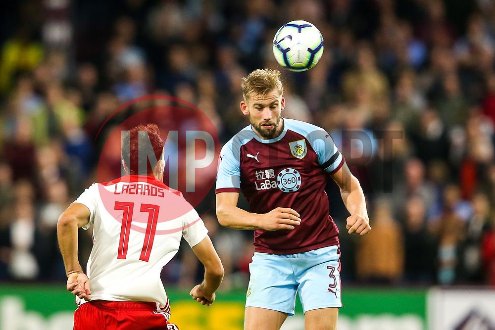 Charlie Taylor of Burnley heads the ball - Mandatory by-line: Robbie Stephenson/JMP - 30/08/2018 - FOOTBALL - Turf Moor - Burnley, England - Burnley v Olympiakos - UEFA Europa League Play-offs second leg