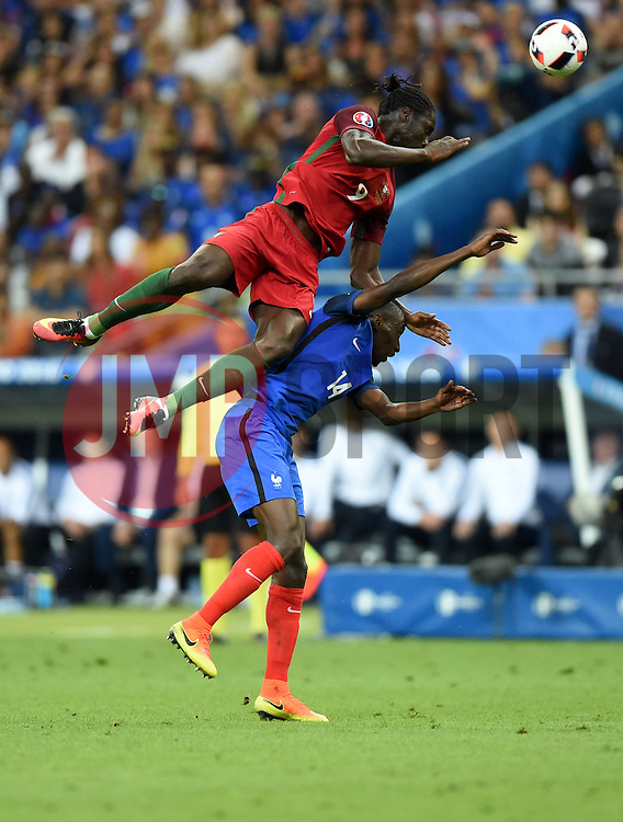 Blaise Matuidi of France battles for the high ball with Eder of Portugal  - Mandatory by-line: Joe Meredith/JMP - 10/07/2016 - FOOTBALL - Stade de France - Saint-Denis, France - Portugal v France - UEFA European Championship Final
