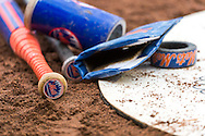 A close up view of gear in the on-deck circle of the New York Mets during a game against the Minnesota Twins on April 13, 2013 at Target Field in Minneapolis, Minnesota.  The Mets defeated the Twins 4 to 2.  Photo: Ben Krause