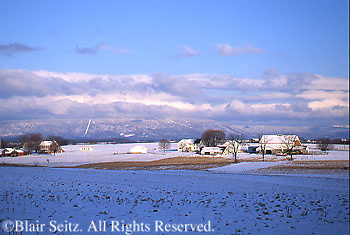 Snow-covered Farms, PA Landscapes, Cumberland Valley, Cumberland Co., Pennsylvania