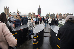© Licensed to London News Pictures. 31/12/2017. Security barriers on Westminster Bridge, in front of Big Ben, in Westminster, ahead of New Year celebrations later this evening. Security around this years New Year's Eve celebrations in London have been increased in the wake of recent terror attacks.. Photo credit: Ben Cawthra/LNP