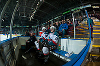 KELOWNA, CANADA - APRIL 7: Cal Foote #25 and Tomas Soustal #15 of the Kelowna Rockets sit in the penalty box against the Portland Winterhawks on April 7, 2017 at Prospera Place in Kelowna, British Columbia, Canada.  (Photo by Marissa Baecker/Shoot the Breeze)  *** Local Caption ***