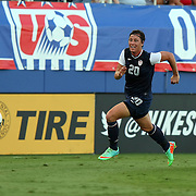 U.S. forward Abby Wambach (20) dribbles the ball during an international friendly soccer match between the United States Women's National soccer team and the Russia National soccer team at FAU Stadium on Saturday, February 8, in Boca Raton, Florida. (AP Photo/Alex Menendez)