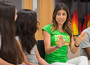 "Actress Daniella Monet talks with students during a ""Meatless Monday"" program at Gregory-Lincoln Middle School, May 19, 2014."