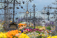 The graveyard of the church St. Maria in Lenz with the famous wrought iron crosses, Parc Ela, Grisons, Switzerland