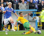 Carlisle - Saturday October 10th, 2009: Kevan Hurst of Carlisle United and Tom Adeyemi of Norwich City during the Coca Cola League One match at Brunton Park, Carlisle. (Pic by Jed Wee/Focus Images)..