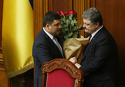 Ukrainian President Petro Poroshenko(R) celebrates with new Prime Minister Volodymyr Groysman at the Ukrainian parliament session in Kiev, Ukraine on April 14, 2016. The Ukrainian parliament approved the formation of a new cabinet on Thursday following a replacement of the prime minister. EXPA Pictures © 2016, PhotoCredit: EXPA/ Photoshot/ Xinhua<br /> <br /> *****ATTENTION - for AUT, SLO, CRO, SRB, BIH, MAZ, SUI only*****