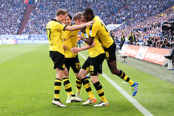 10.04.2016, Veltins Arena, Gelsenkirchen, GER, 1. FBL, Schalke 04 vs Borussia Dortmund, 29. Runde, im Bild Torjubel ueber das Tor zum 1:2 durch Matthias Ginter (#28, Borussia Dortmund) mit Erik Durm (#37, Borussia Dortmund), Shiji Kagawa (#23, Borussia Dortmund) und Adrian Ramos (#20, Borussia Dortmund) // during the German Bundesliga 29th round match between Schalke 04 and Borussia Dortmund at the Veltins Arena in Gelsenkirchen, Germany on 2016/04/10. EXPA Pictures © 2016, PhotoCredit: EXPA/ Eibner-Pressefoto/ Deutzmann<br /> <br /> *****ATTENTION - OUT of GER*****
