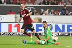 25.10.2013, Mercedes Benz Arena, Stuttgart, GEr, 1. FBL, VfB Stuttgart vs 1.FC Nuernberg, Fussball, 1.Bundesliga, 25.10.2013, 10. Runde, im Bild Rechts Sven Ulreich ( VfB Stuttgart ) Links Josip Drmic ( 1 FC Nuernberg ) beim Torschuss zum 1:1 ausgleich, Zweikampf, Aktion, Action // during the German Bundesliga 10th round match between VfB Stuttgart and 1. FC Nuernberg at the Mercedes Benz Arena in Stuttgart, Germany on 2013/10/26. EXPA Pictures © 2013, PhotoCredit: EXPA/ Eibner-Pressefoto/ Langer<br /> <br /> *****ATTENTION - OUT of GER*****