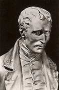 Louis Braille (1809-1852) French educationalist and inventor of a system of reading and writing for the blind using raised dots on paper.  Braille was blinded in a childhood accident. Photograph of a statue of Braille.