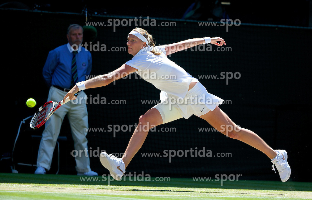 03.07.2014, All England Lawn Tennis Club, London, ENG, WTA Tour, Wimbledon, Tag 10, im Bild Petra Kvitova (CZE) during the Ladies' Singles Semi-Final match on day ten // during day 10 of the Wimbledon Championships at the All England Lawn Tennis Club in London, Great Britain on 2014/07/03. EXPA Pictures &copy; 2014, PhotoCredit: EXPA/ Propagandaphoto/ David Rawcliffe<br /> <br /> *****ATTENTION - OUT of ENG, GBR*****