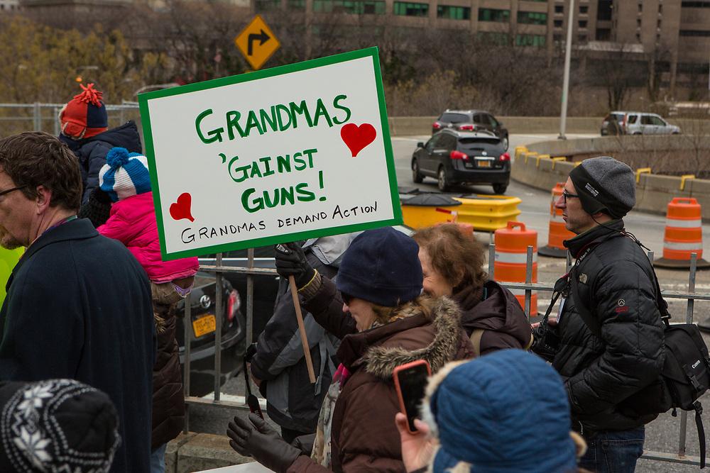 """A woman carries a placard reading """"Grandmas against guns."""""""