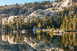 """Paradise Lake 4"" - Photograph of small granite islands at Paradise Lake, California."