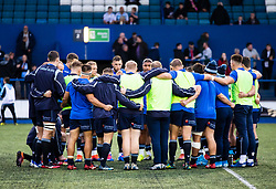 Cardiff Blues huddle during the pre match warm up<br /> <br /> Photographer Simon King/Replay Images<br /> <br /> Guinness PRO14 Round 2 - Cardiff Blues v Edinburgh - Saturday 5th October 2019 -Cardiff Arms Park - Cardiff<br /> <br /> World Copyright © Replay Images . All rights reserved. info@replayimages.co.uk - http://replayimages.co.uk