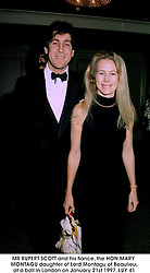 MR RUPERT SCOTT and his fiance, the HON.MARY MONTAGU daughter of Lord Montagu of Beaulieu, at a ball in London on January 21st 1997.LUY 41