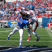 Lauren Wood | Buy at photos.djournal.com<br /> Memphis defensive back Dontrell Nelson breaks up a pass intended for Ole Miss wide receiver Laquon Treadwell in the end zone during Saturday's game at Memphis.