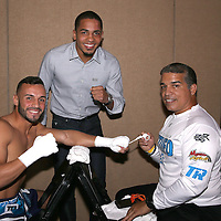 Christopher Diaz, Felix Verdejo and Ricky Marquez are seen backstage during theTop Rank boxing event at Osceola Heritage Park in Kissimmee, Florida on September 22, 2016.