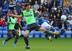 Mohamed Eisa of Peterborough United battles with Ryan Delaney of AFC Wimbledon - Mandatory by-line: Joe Dent/JMP - 28/09/2019 - FOOTBALL - Weston Homes Stadium - Peterborough, England - Peterborough United v AFC Wimbledon - Sky Bet League One