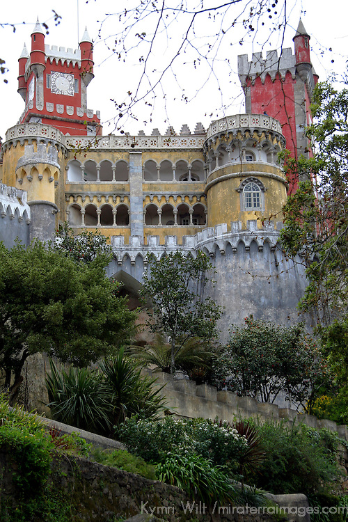 Europe, Portugal, Sintra. The Pena National Palace, a UNESCO World Heritage Site.